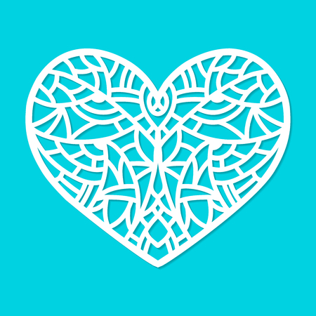 Laser cut vector heart ornament. Cutout pattern silhouette with abstract shapes. Die cut element