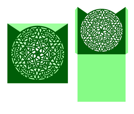 temlate: Laser cut card temlate with mandala ornament. Cutout circle pattern silhouette. Die cut. Illustration