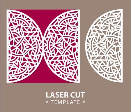 temlate: Laser cut vector card temlate with mandala ornament. Cutout circle pattern silhouette. Die cut