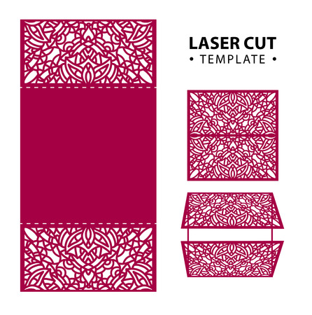 temlate: Laser cut vector envelope card temlate with abstract ornament. C Illustration