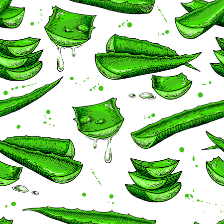aloe vera plant: Aloe vera vector seamless pattern. Hand drawn artistic background. Natural cosmetic ingredient. Botanical illustration of plant leaf sliced pieces with drops of juice. Herbal treatment with lemongrass