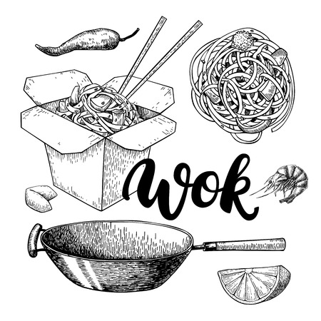 etch: Wok vector drawing with lettering. Isolated chinese box, wok and