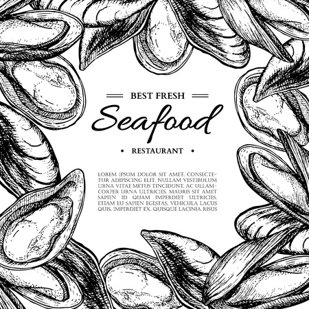 Seafood hand drawn vector mussel and oyster framed illustration.