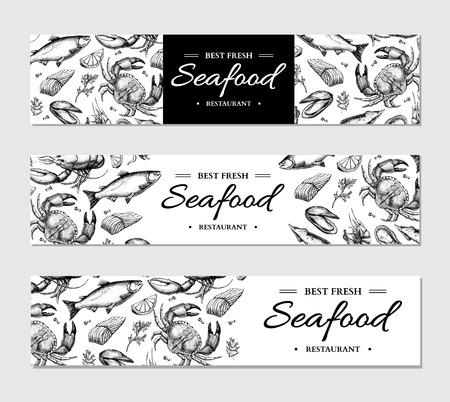 Ensemble de modèles de vecteur de bannière de fruits de mer. Illustration dessinée à la main. Crabe, homard, crevette, huître, moule,