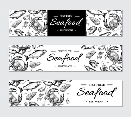Seafood banner vector template set. Hand drawn illustration. Crab, lobster, shrimp, oyster, mussel,