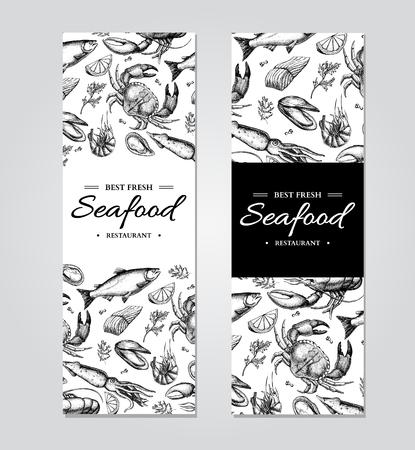 Meeresfrüchte Banner Vektor Vorlage gesetzt. Hand gezeichnet Illustration. Krabbe, Hummer, Garnelen, Austern, Muschel, Standard-Bild - 75005167