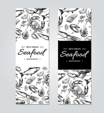 Seafood banner vector template set. Hand drawn illustration. Crab, lobster, shrimp, oyster, mussel, Reklamní fotografie - 75005167