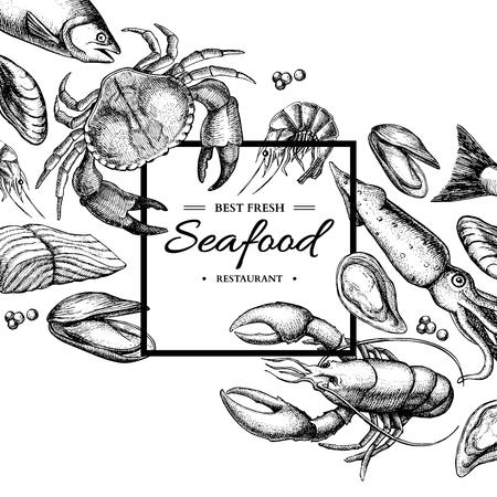 シーフードの手描きの背景はフレームの図です。カニ、ロブスター、エビ、カキ、ムール貝、キャビア、イカ。