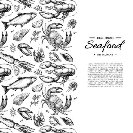 Illustrazione incorniciata vettore disegnato a mano di frutti di mare. Granchio, aragosta, gambero, ostrica, cozza, caviale e calamaro.