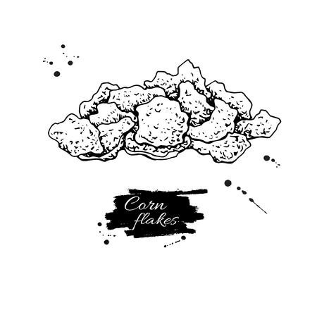 Illustration vectorielle de maïs flocons dessinés à la main. Tas de muesli granola. Céréales du matin style dessiné à la main avec des épis de maïs