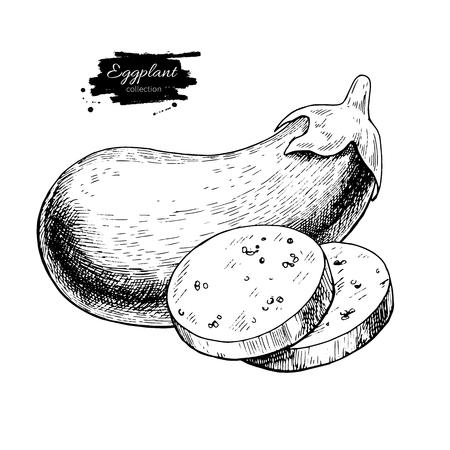 茄子手描きのベクトル図です。スライスされた部分との分離の野菜刻まれたスタイル オブジェクト