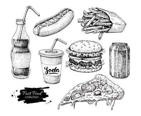 Comida rápida vector dibujado a mano conjunto. Estilo grabado comida chatarra ilust