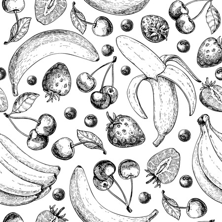 Summer fruit seamless pattern. Hand drawn vintage vector pattern. Fruit and berry set of banana, cherry, strawberry,