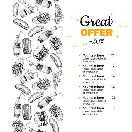food: Fast food vector hand drawn menu. Hand drawn junk food stripe illustration