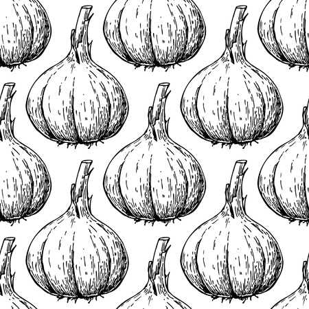Garlic hand drawn vector seamless pattern. Isolated Vegetable Engraved style background.