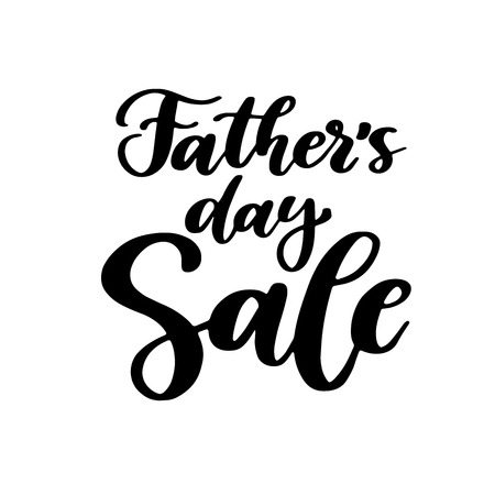 Fathers Day Sale vector card with handwritten lettering. Decorative typography holiday illustration.