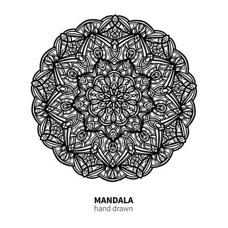 Mandala flower vector drawing. Decorative boho round ornament. Ethnic hand drawn element.