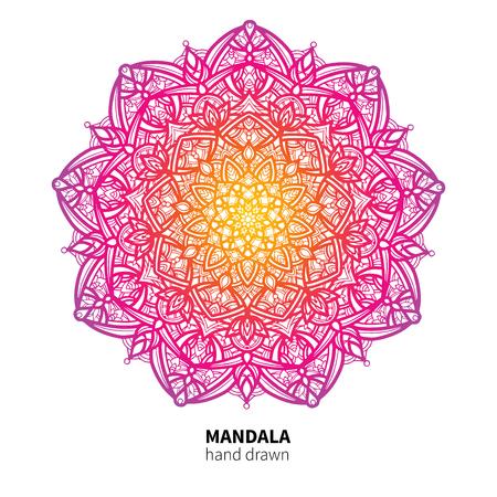 Mandala flower vector drawing. Ethnic colorful decorative element.