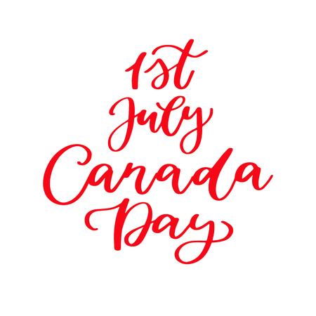 해피 캐나다 하루 벡터 카드입니다. 손으로 쓴 글자. 달 필 스티커입니다. 일러스트