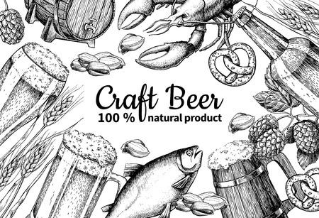 etch glass: Beer vector frame banner. Alcohol beverage hand drawn illustration. Beer glass, mug