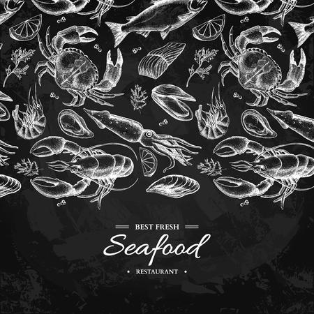 Illustrazione disegnata a mano di vettore dei frutti di mare Granchio, aragosta, gambero, ostrica, cozza, caviale e calamaro