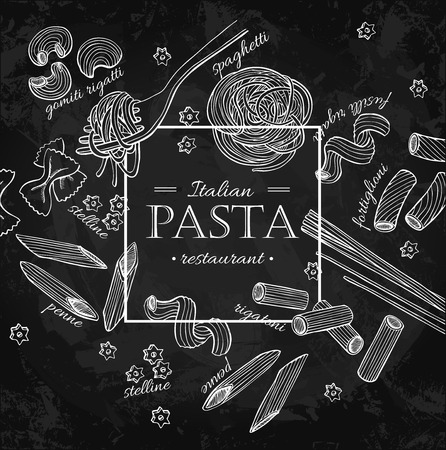 Italian pasta restaurant vector vintage illustration. Hand drawn Ilustração