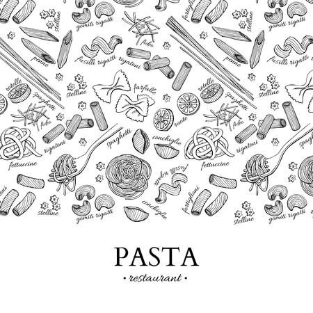 Italian pasta restaurant vector vintage illustration. Hand drawn engraved banner. 일러스트