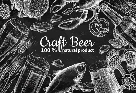 Beer vector chalkboard frame banner. Alcohol beverage hand drawn illustration Ilustrace