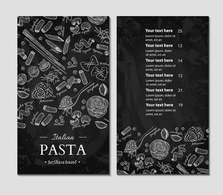 Italian pasta restaurant vector menu. Hand drawn chalkboard banner.