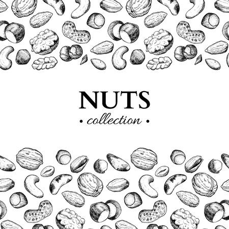 ナットはベクトル ビンテージ フレーム イラストです。手には、刻まれた料理のオブジェクトが描画されます。