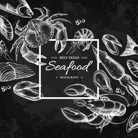 Seafood hand drawn vector framed illustration. Engraved style blackboard template.