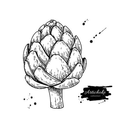 Gezeichnete Vektorillustration der Artischocke Hand. Lokalisierter Gemüse gravierter Artgegenstand. Detaillierte vegetarische Essenszeichnung. Bauernhof-Marktprodukt. Groß für Menü, Aufkleber, Ikone Vektorgrafik