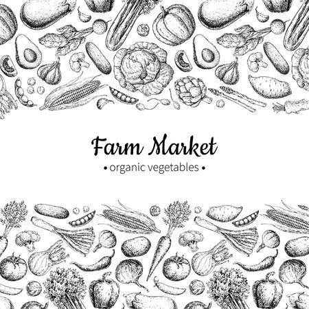 野菜の手には、ビンテージ ベクトル図が描かれました。ファーム市場ポスター。菜食主義者は、オーガニック製品のセット。