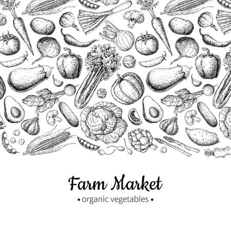 야채 손으로 그린 된 벡터 일러스트 레이 션. 농장 시장 포스터. 채식 유기농 제품 집합입니다.