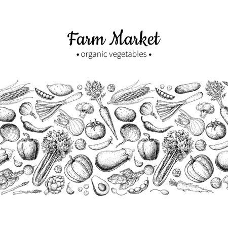 Vegetal mano dibujado vintage ilustración vectorial. Cartel del mercado de la granja. Conjunto vegetariano de productos orgánicos.