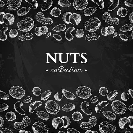 Nuts vector vintage frame illustration. Hand drawn chalkboard food objects. Great for label, banner, flyer, card, business promote.