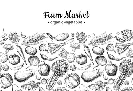 Illustrazione vettoriale disegnata a mano vintage di verdure