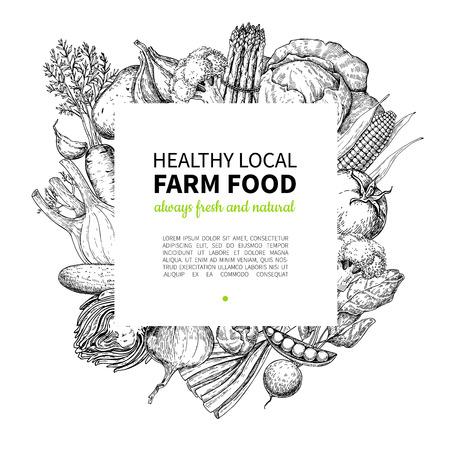 Vegetales dibujado a mano ilustración vectorial marco de la vendimia. Cartel del mercado de la granja. Ilustración de vector
