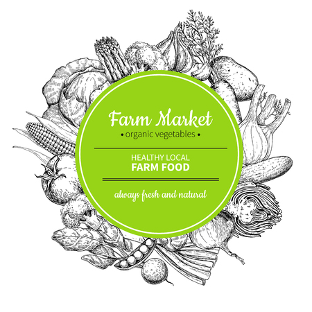 Vegetable hand drawn vintage vector frame illustration. Farm Market poster.