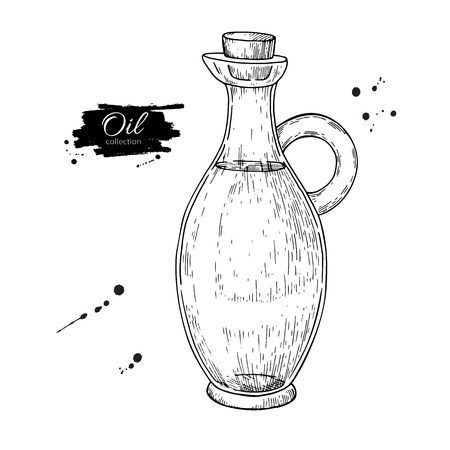 etch glass: Oil bottle drawing. Vector glass pitcher with cork stopper.