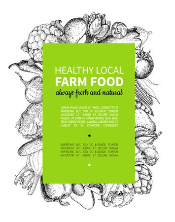 garden peas: Vegetable hand drawn vintage vector frame illustration. Farm Market poster.