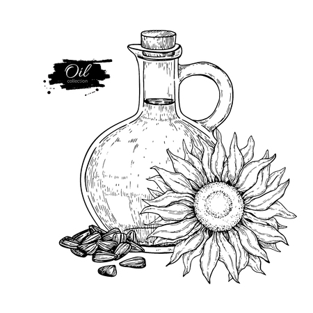 Bottle of sunflower oil with flower and heap of seed. Vector Hand drawn illustration. Glass pitcher