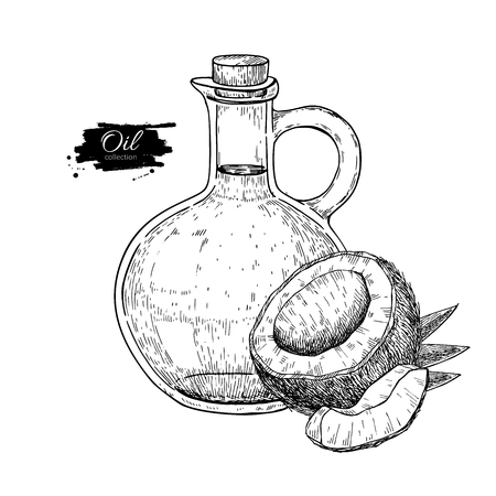 Bottle of coconut oil. Vector Hand drawn illustration. Cooking and beauty ingredient. Glass pitcher Ilustracja