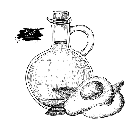etch glass: Bottle of avocado oil, Vector Hand drawn illustration, Glass pitcher vintage engraving isolated on white background; Great for menu, banner, label, logo, flyer