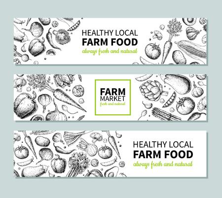 Plantaardige hand getekend vintage vector banner. Farm Market-poster. Vegetarische schets van biologische producten. Gedetailleerde voedseltekening. Geweldig voor menu, sjabloon, brochure, label, logo, flyer, label Logo