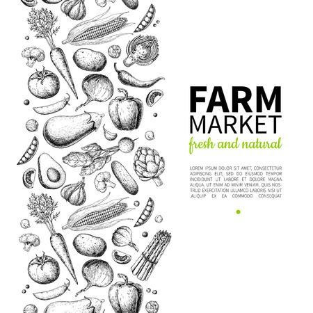 야채 손으로 그린 된 벡터 일러스트 레이 션. 농장 시장 포스터. 채식 유기농 제품 집합입니다. 상세한 음식 그림. 메뉴, 배너, 라벨, 로고, 전단지에 적 일러스트