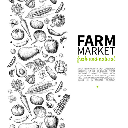 Vegetable hand drawn vintage vector illustration. Farm Market poster. Vegetarian set of organic products. Detailed food drawing. Great for menu, banner, label, logo, flyer