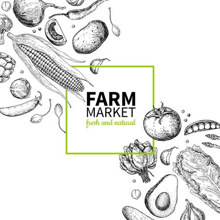 Vegetable hand drawn vintage vector frame illustration. Farm Market poster. Vegetarian set of organic products. Ilustração