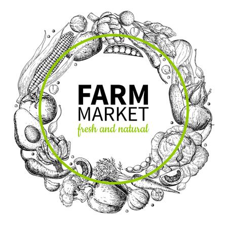 야채 손으로 그린 빈티지 화 환 벡터 일러스트 레이 션. 농장 시장 포스터. 채식 유기농 제품 집합입니다.