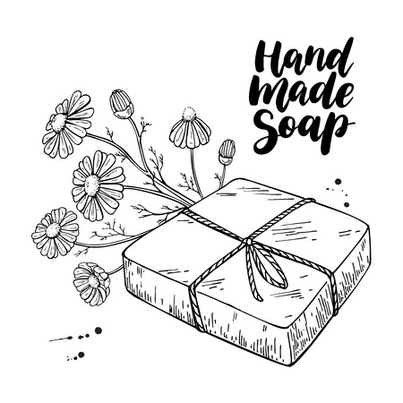 Handmade natural soap. Vector hand drawn illustration of organic cosmetic with chamomile medical flowers. Herbal bodycare. Great for label, logo, banner, packaging, spa and body care promote Illustration